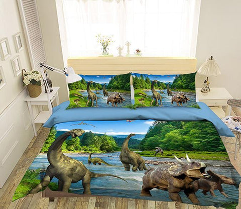 3D Dinosaur River 082 Bed Pillowcases Quilt Wallpaper AJ Wallpaper