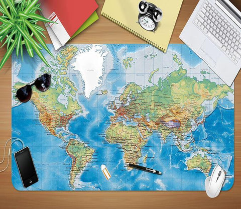 3D World Map 177 Desk Mat Mat AJ Creativity Home