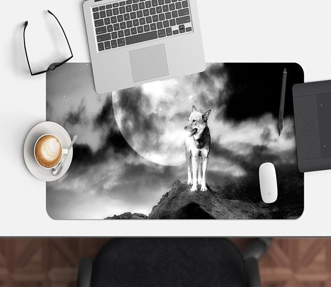 3D Moon Wolf 102 Desk Mat Mat AJ Creativity Home