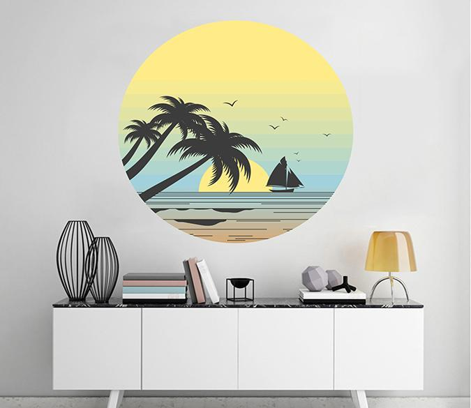3D Coconut Tree Sea 166 Wall Stickers Wallpaper AJ Wallpaper