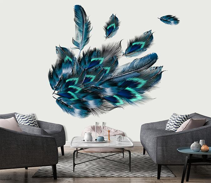 3D Beautiful Peacock Feather 080 Wall Stickers Wallpaper AJ Wallpaper