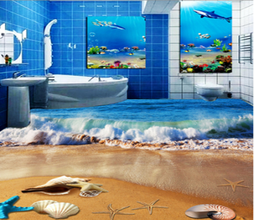 3D Waves 372 Floor Mural Wallpaper AJ Wallpaper 2