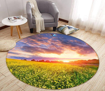 3D Sunset Flower Field 372 Round Non Slip Rug Mat Mat AJ Creativity Home