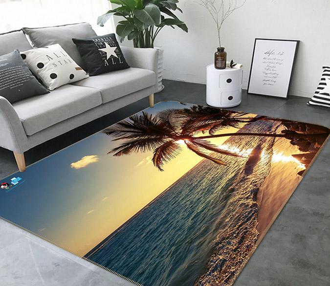 3D Sunset Coconut Tree 755 Non Slip Rug Mat Mat AJ Creativity Home