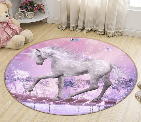 3D Unicorn Wood Bridge 357 Round Non Slip Rug Mat Mat AJ Creativity Home