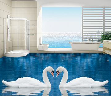 3D Swan Pair 146 Floor Mural Wallpaper AJ Wallpaper 2