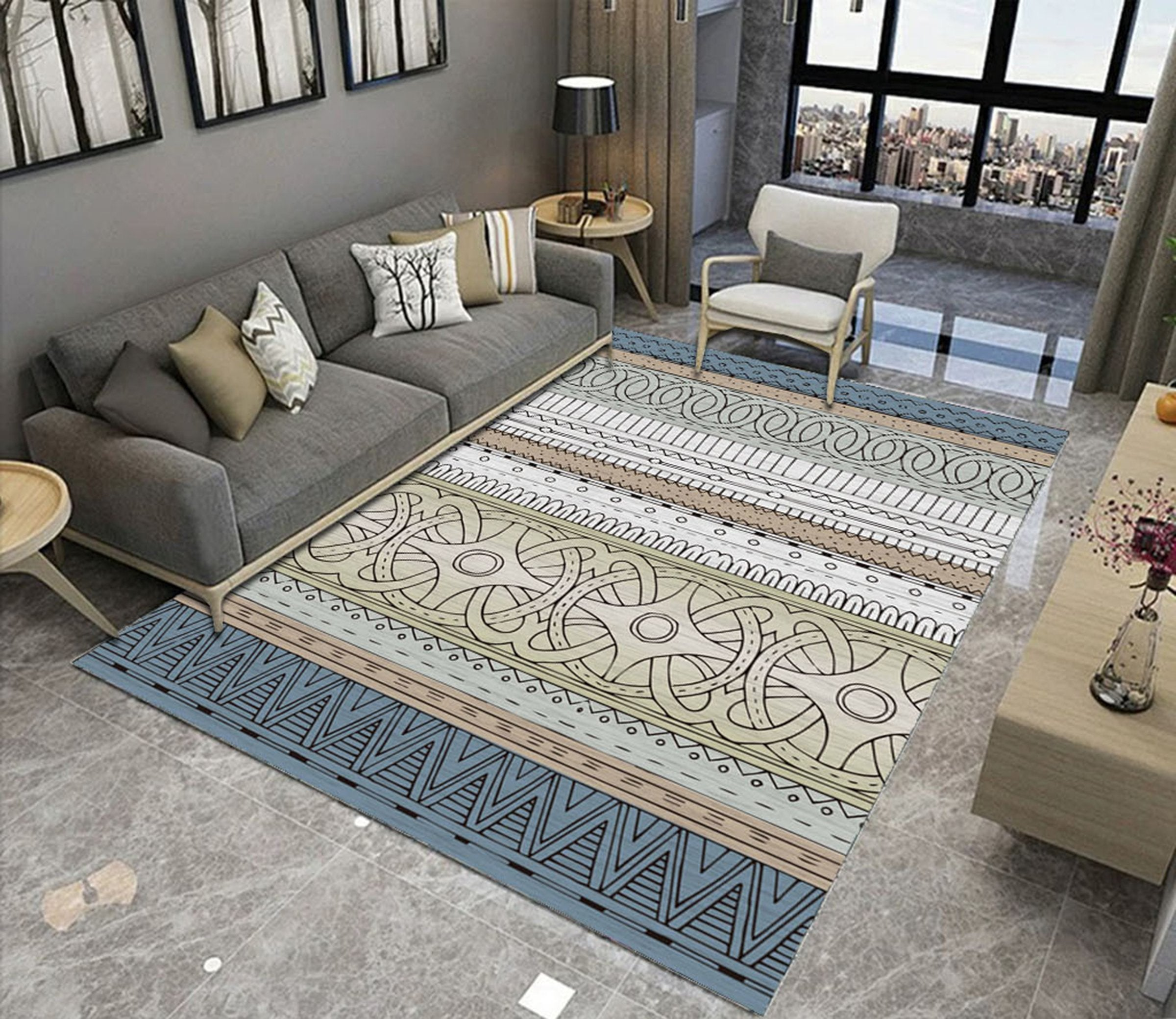 3D Colored Geometric Pattern WG515 Non Slip Rug Mat