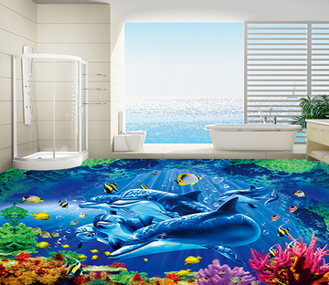 3D Multicolored Coral 126 Floor Mural Wallpaper AJ Wallpaper 2