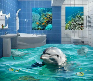 3D Lively Dolphins 058 Floor Mural Wallpaper AJ Wallpaper 2