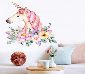 3D Unicorn Head Flower 002 Wall Stickers Wallpaper AJ Wallpaper