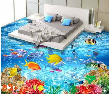 3D Fish Swimming 236 Floor Mural Wallpaper AJ Wallpaper 2