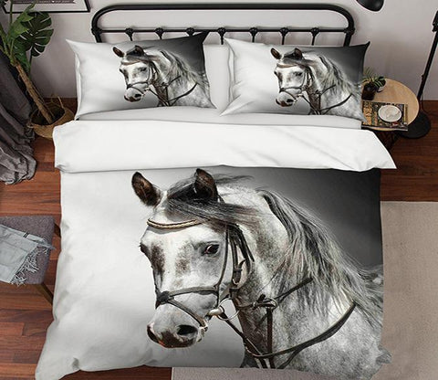 3D White Horse 191 Bed Pillowcases Quilt