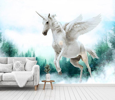 3D Woods Flying Unicorn 261 Wallpaper AJ Wallpaper