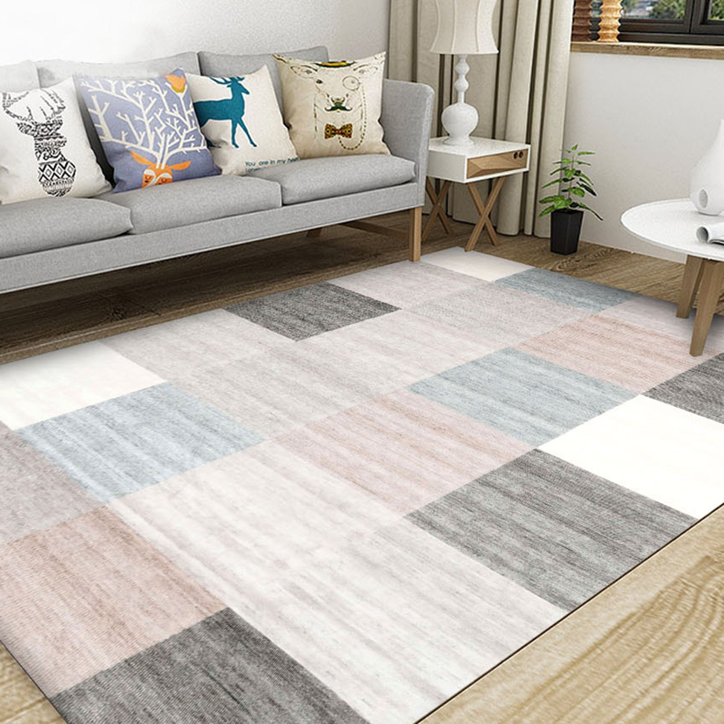 3D Colored Geometric Pattern WG557 Non Slip Rug Mat