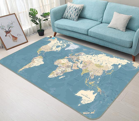3D Blue Map 155 Non Slip Rug Mat