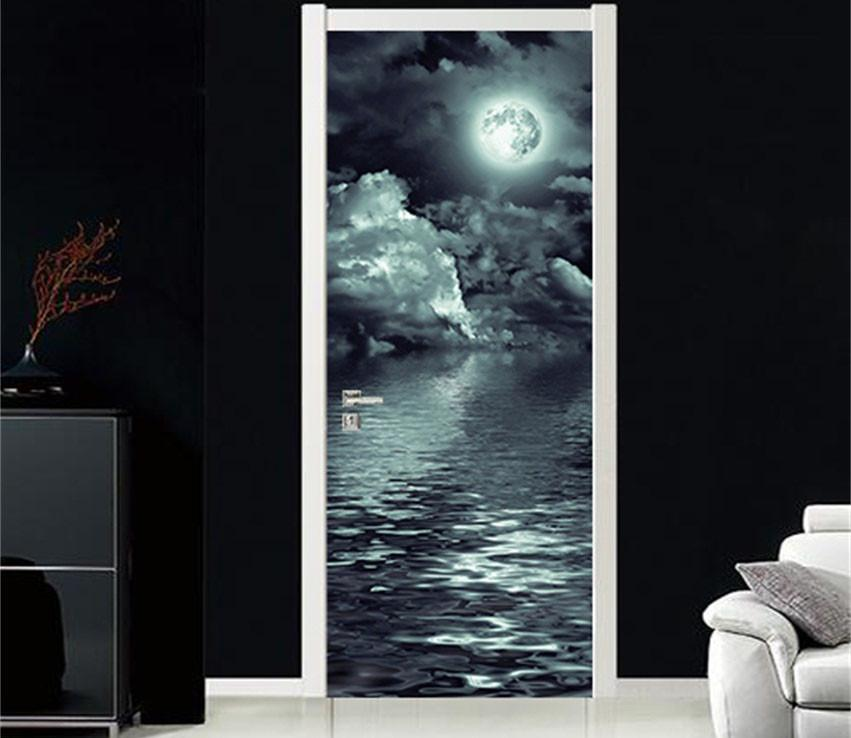3D moon and the sea at night door mural Wallpaper AJ Wallpaper