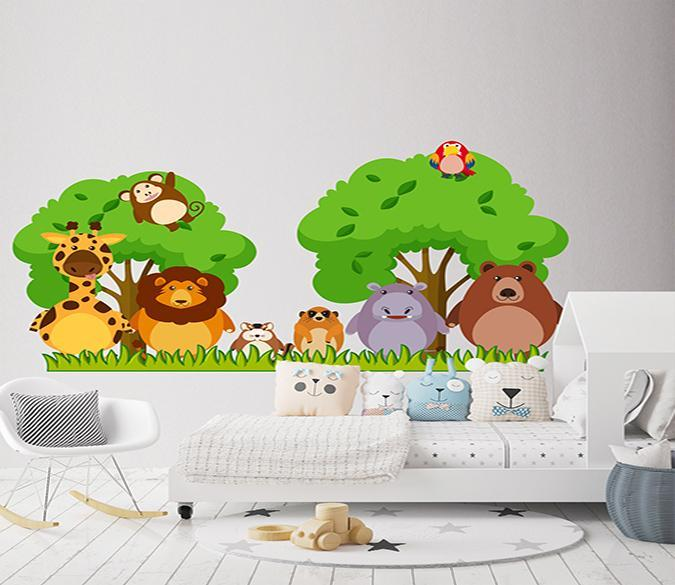 3D Cartoon Tree Animal 181 Wall Stickers Wallpaper AJ Wallpaper