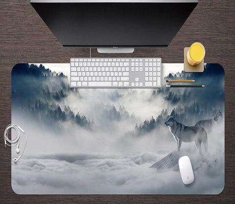 3D Mountain Wolf 192 Desk Mat Mat AJ Creativity Home