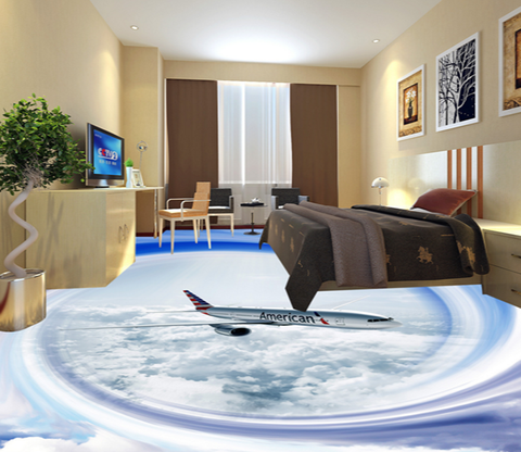 3D Aircraft 018 Floor Mural Wallpaper AJ Wallpaper 2
