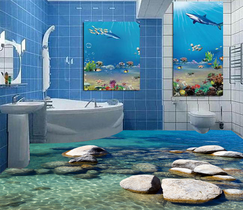 3D Seaside Stone 016 Floor Mural