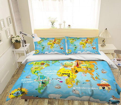 3D Cartoon Map 241 Bed Pillowcases Quilt Wallpaper AJ Wallpaper