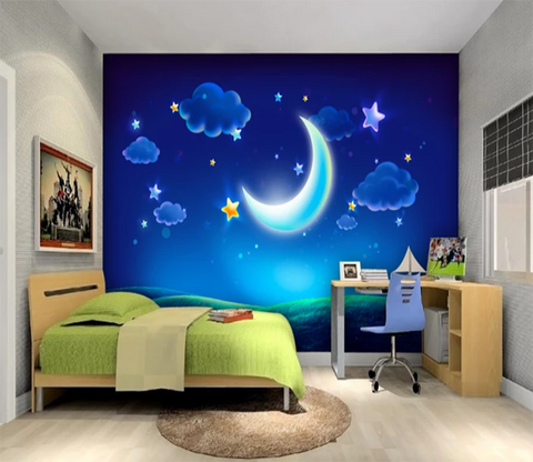 3D Cloud Moon Stars 849 Wallpaper AJ Wallpaper 2
