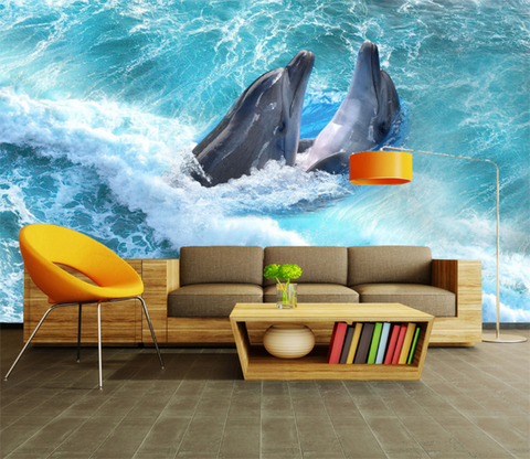 3D Surf Dolphins 419 Wallpaper AJ Wallpaper
