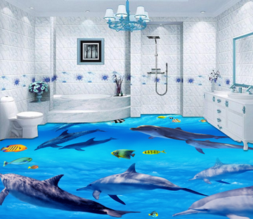 3D Group Of Dolphins 336 Floor Mural Wallpaper AJ Wallpaper 2