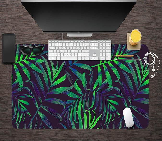 3D Green Leaf 161 Desk Mat Mat AJ Creativity Home