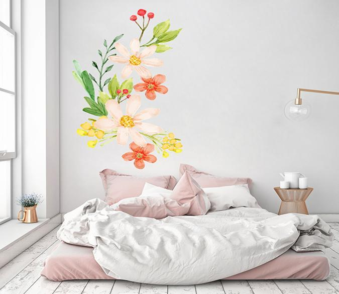 3D Red Petals Graffiti 123 Wall Stickers Wallpaper AJ Wallpaper