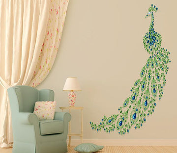 3D Peacock Tail Feather 042 Wall Stickers Wallpaper AJ Wallpaper