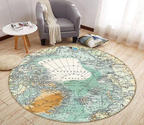 3D Map Center 251 Round Non Slip Rug Mat Mat AJ Creativity Home