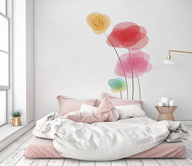 3D Ink Painting Flower 124 Wall Stickers Wallpaper AJ Wallpaper