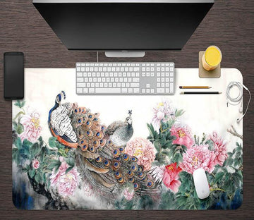 3D Beautiful Peacock 105 Desk Mat Mat AJ Creativity Home
