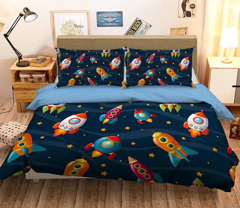 3D Rocket Stars 053 Bed Pillowcases Quilt Wallpaper AJ Wallpaper