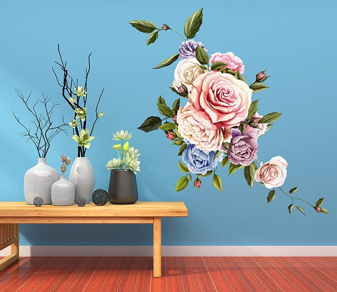 3D Blooming Pink Flower 038 Wall Stickers Wallpaper AJ Wallpaper