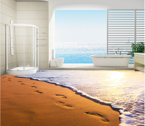 3D Beach Footprints 171 Floor Mural Wallpaper AJ Wallpaper 2