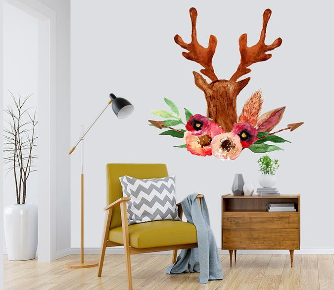 3D Antler Flower Painting 065 Wall Stickers Wallpaper AJ Wallpaper