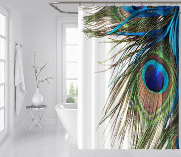 3D Peacock Feather 074 Shower Curtain 3D Shower Curtain AJ Creativity Home