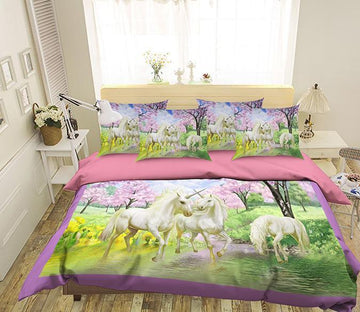 3D Unicorn Drinking Water 138 Bed Pillowcases Quilt Wallpaper AJ Wallpaper