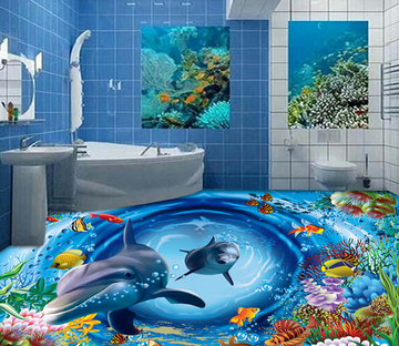 3D Beautiful Dolphins 216 Floor Mural Wallpaper AJ Wallpaper 2