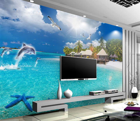 3D Sea View Room 135 Wallpaper AJ Wallpaper