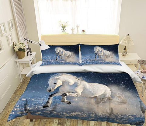 3D Run White Horse 154 Bed Pillowcases Quilt Wallpaper AJ Wallpaper