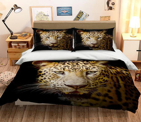 3D Leopard Head 125 Bed Pillowcases Quilt Wallpaper AJ Wallpaper