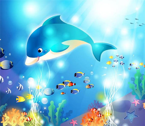 3D Blue Dolphins 014 Wallpaper AJ Wallpaper 2