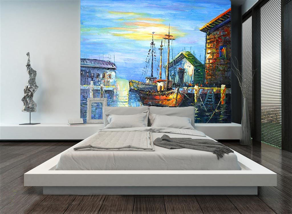 Dock Painting Wallpaper AJ Wallpaper