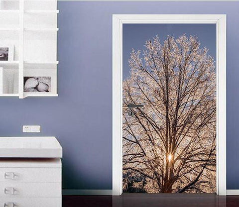 3D blooming tree in the sun door mural Wallpaper AJ Wallpaper