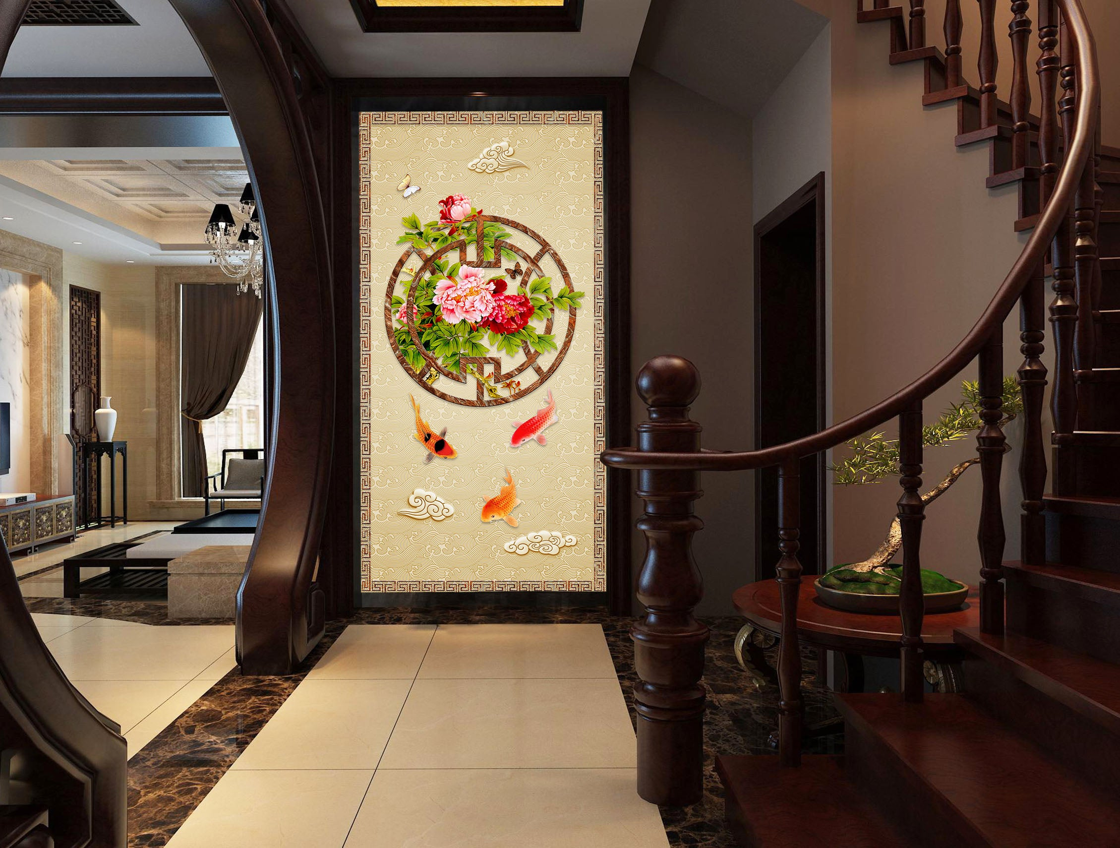 3D Lotus Pond Goldfish 3032 Wall Murals