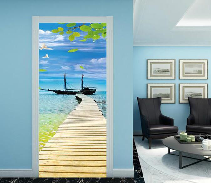 3D blue sky seagull sea plank bridge door mural Wallpaper AJ Wallpaper