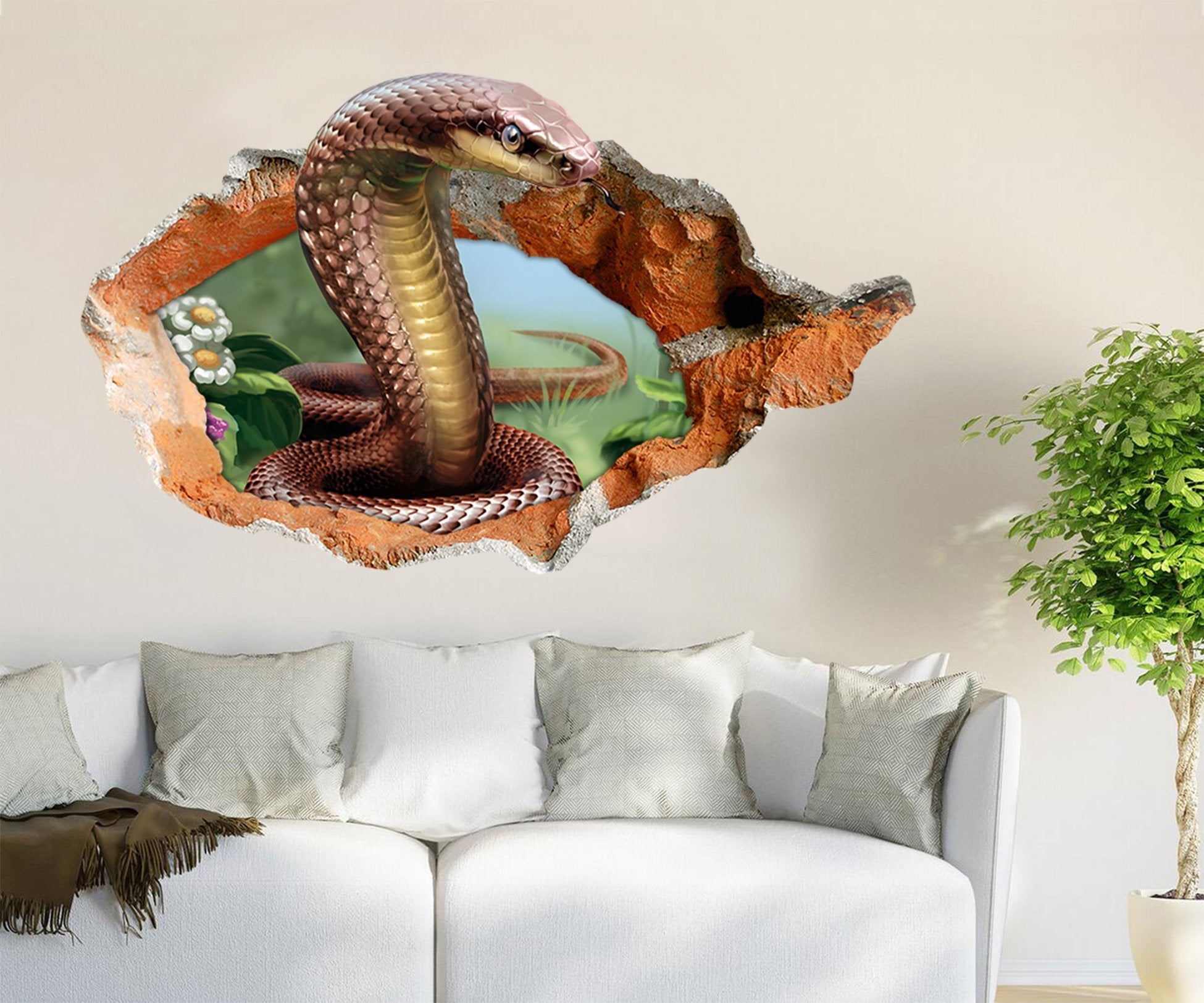 3D Dangerous Snake 93 Broken Wall Murals Wallpaper AJ Wallpaper